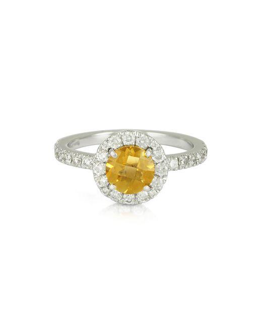 Forzieri - 0.50 Ct Diamond Pave 18k White Gold Ring W/citrine Quartz - Lyst