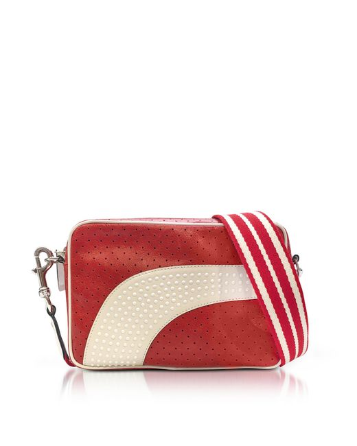 RED Valentino - Red Strawberry/milk White Perforated Leather Crossbody Bag W/studs - Lyst