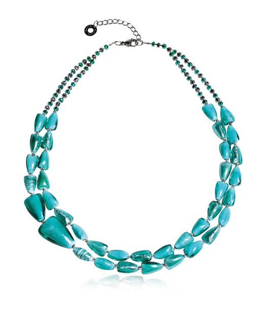 Antica Murrina - Blue Marina 1 Double - Turquoise Green Murano Glass And Silver Leaf Necklace - Lyst