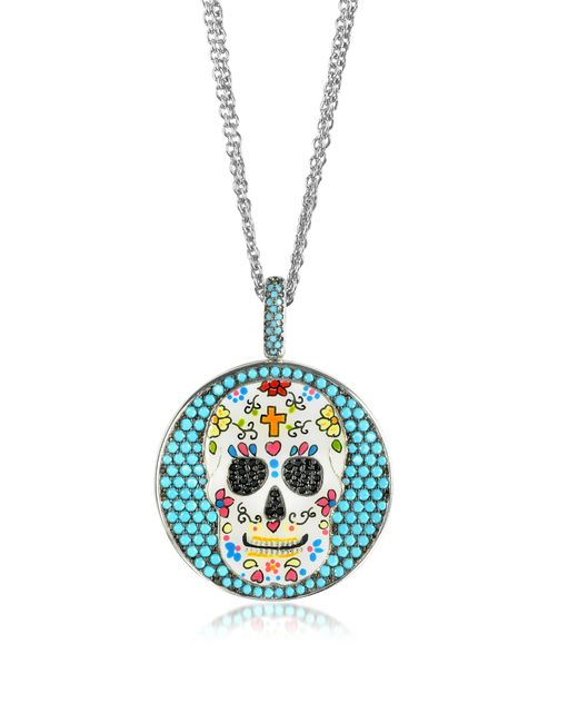 Azhar - Metallic Calavera Skull Charm Rhodium Plated Sterling Silver Pendant Necklace - Lyst