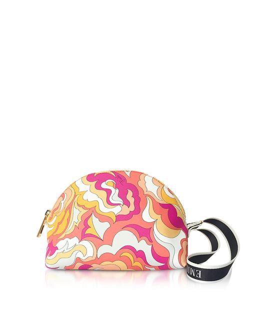 Emilio Pucci - Pink Coral And Sand Coated Canvas Cosmetic Case/pouch - Lyst