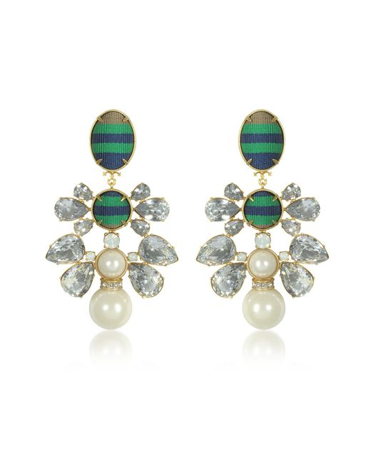 Tory Burch | Metallic Vintage Gold W/crystals And Glass Pearl Ribbon Clip On Earrings | Lyst