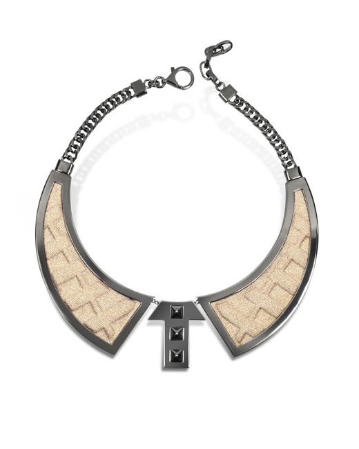 Avril 8790 | Metallic Bavero Contemporaneo Ruthenium Plated Brass And Golden Viscose Necklace | Lyst