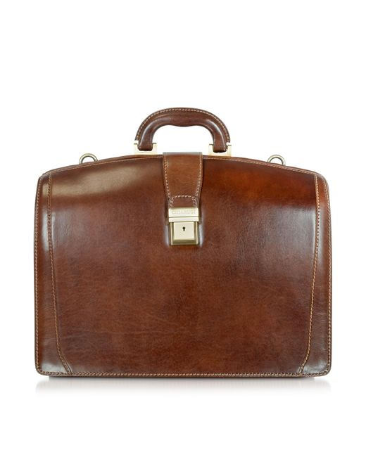 7b6acc759b42 Chiarugi Brown Leather Buckled Diplomatic Briefcase in Brown for Men ...