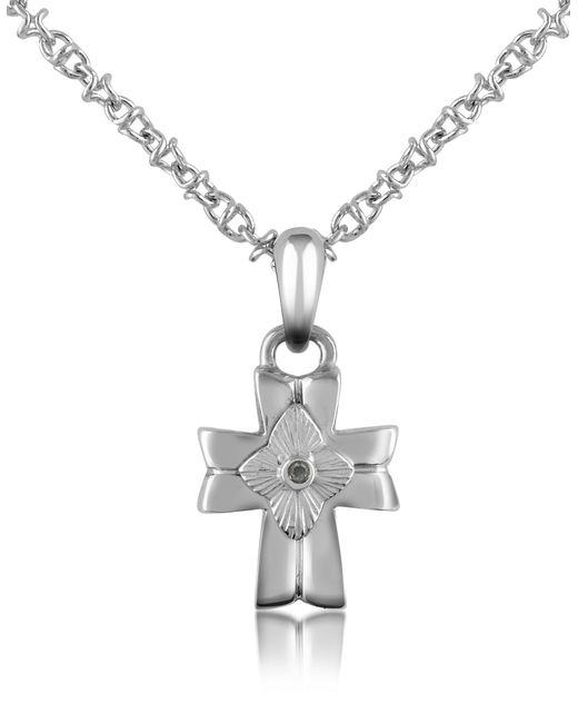 Forzieri - Metallic Diamond And Stainless Steel Cross Pendant Necklace for Men - Lyst