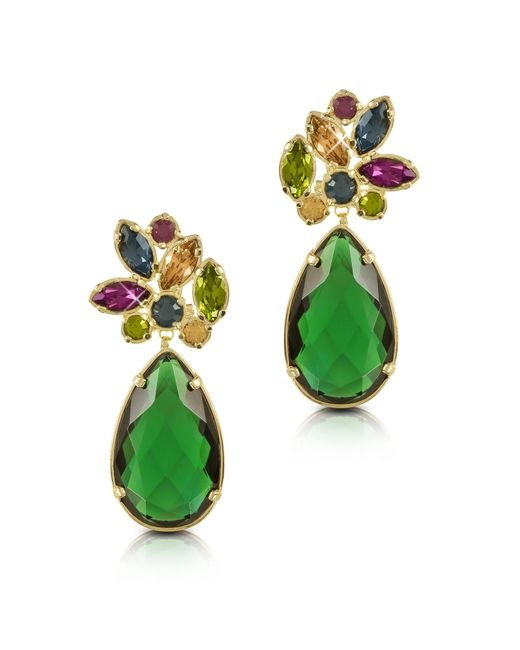 Forzieri - Green Crystal Drop Earrings - Lyst