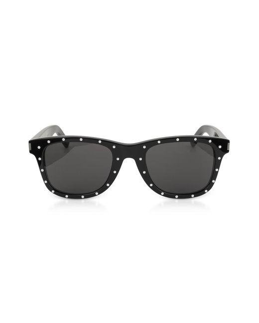 bcab0b0e9e Saint Laurent - Sl 51-029 Black Studded Acetate Women s Sunglasses - Lyst