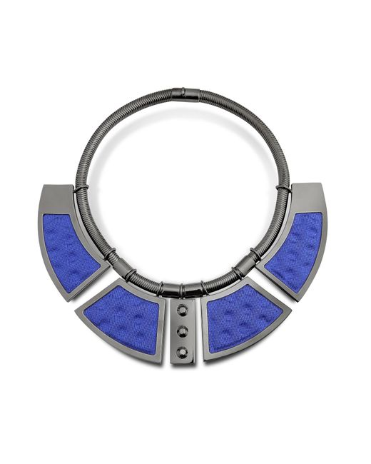 Avril 8790 | Blue Geometric Ruthenium Plated Brass And Golden Viscose Collar Necklace W/studs | Lyst