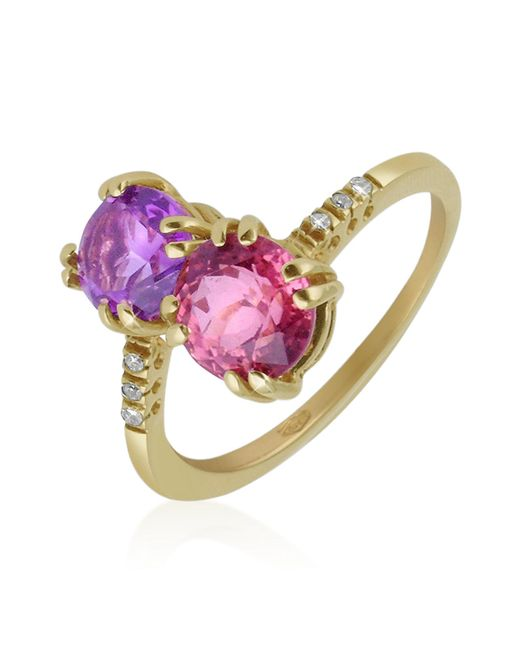 Forzieri - Purple Double Gemstone And Diamond Yellow Gold Ring - Lyst