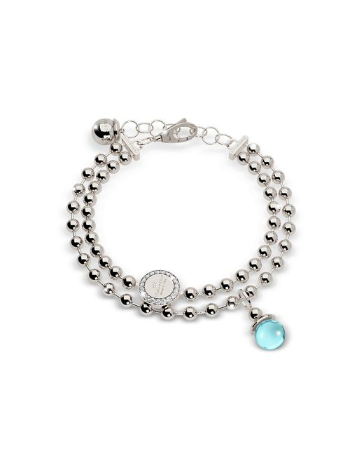 Rebecca - Metallic Boulevard Stone Rhodium Over Bronze Double Beadball Chain Bracelet W/hydrothermal Turquoise Stone - Lyst
