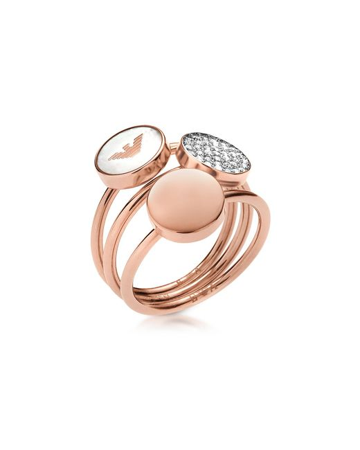 Emporio Armani - Pink Signature Rose Goldtone Triple Ring - Lyst