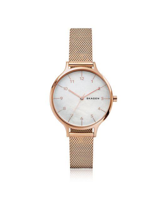 Skagen - Multicolor Anita Mother Of Pearl Rose-tone Steel-mesh Watch - Lyst