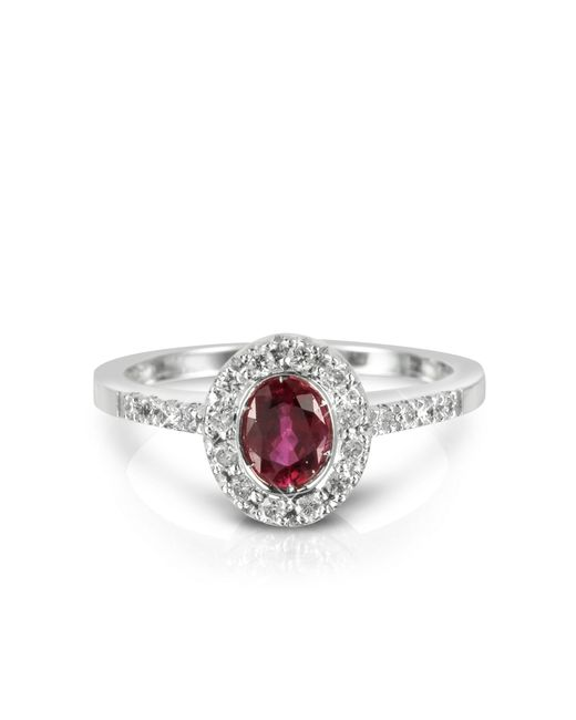 Forzieri - Red Ruby And Diamond 18k White Gold Ring - Lyst