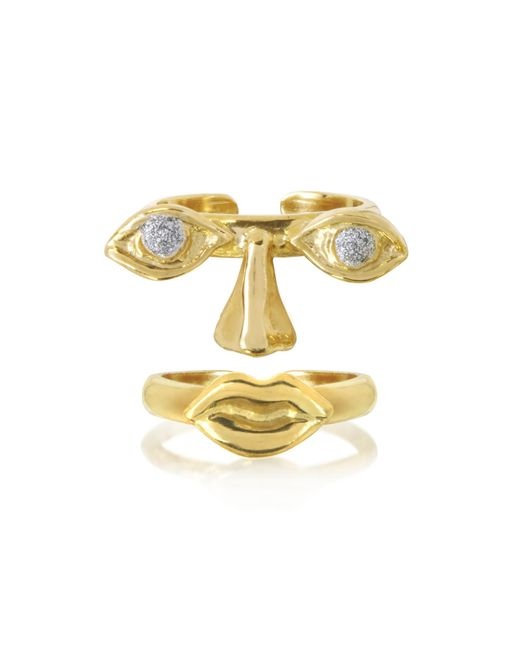 Bernard Delettrez | Metallic Face 9k Gold Midi Ring Two Pieces W/eyes/nose And Mouth | Lyst