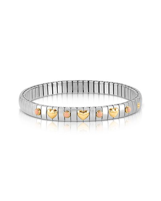 Nomination - Metallic Stainless Steel Women's Bracelet W/golden Hearts And Coral Beads - Lyst