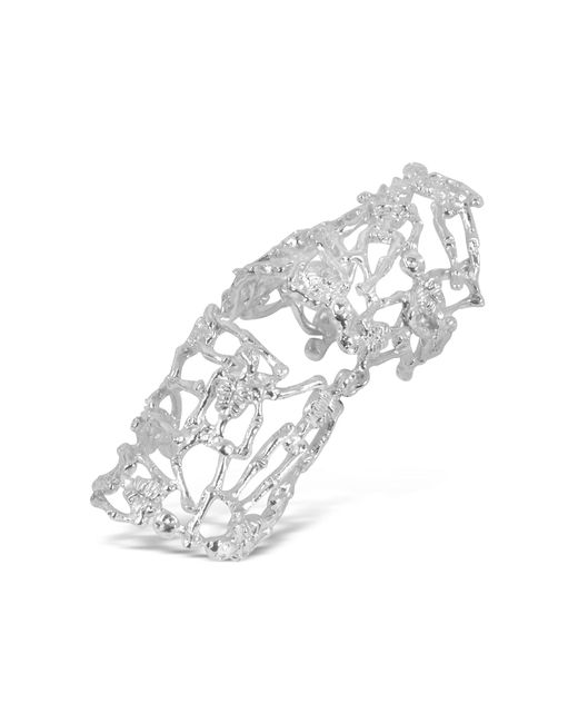 Bernard Delettrez | Metallic White Gold And Diamonds Shield Articulated Ring | Lyst
