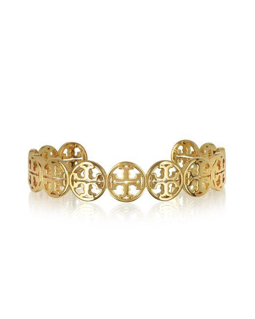Tory Burch - Metallic Frozen Logo Cuff Goldtone Bracelet - Lyst