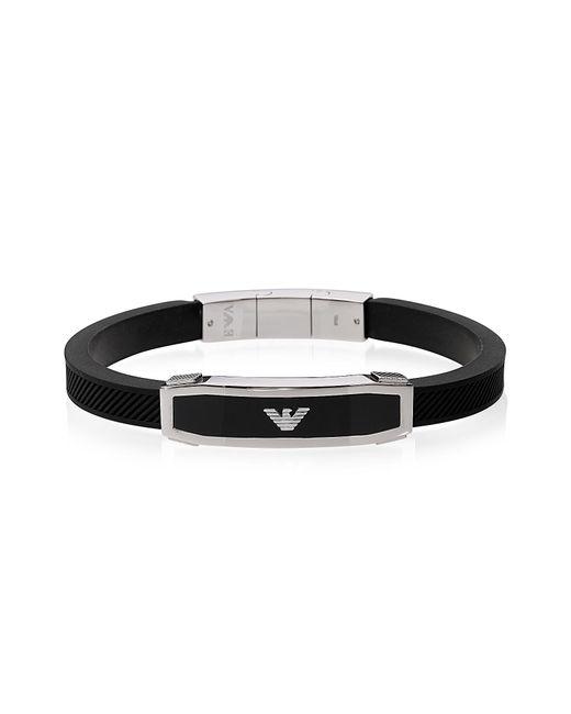 Emporio Armani - Stainless Steel And Black Rubber Men's Bracelet for Men - Lyst