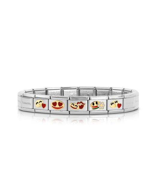 Nomination - Metallic Stainless Steel Women's Bracelet W/golden Emoticons - Lyst
