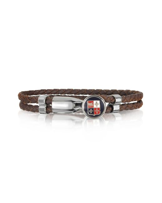 Forzieri | Blue Navy Maritime Republics Metal And Leather Men's Bracelet for Men | Lyst