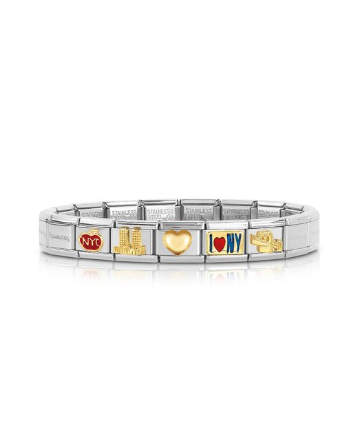 Nomination - Metallic Classic I Love N.y Golden Stainless Steel Bracelet - Lyst
