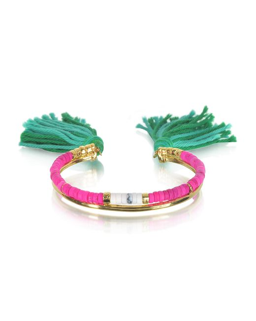 Aurelie Bidermann | 18k Gold-plated & Pink Tinted Howlite And White Bamboo Beads Sioux Bracelet W/emerald Cotton Tassels | Lyst