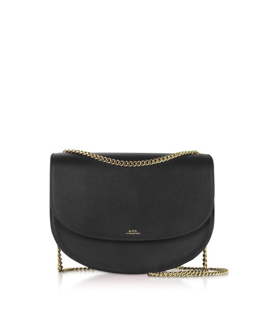 A.P.C. Black Genuine Leather Zurich Shoulder Bag