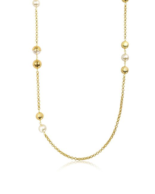 Tory Burch - Metallic Capped Crystal Pearl Chain Rosary Necklace - Lyst
