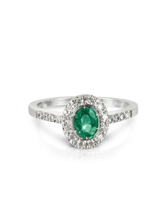 Forzieri - Green Emerald And Diamond 18k White Gold Ring - Lyst
