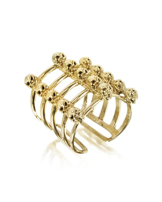 Bernard Delettrez - Metallic Cage And Skulls Bronze Ring - Lyst