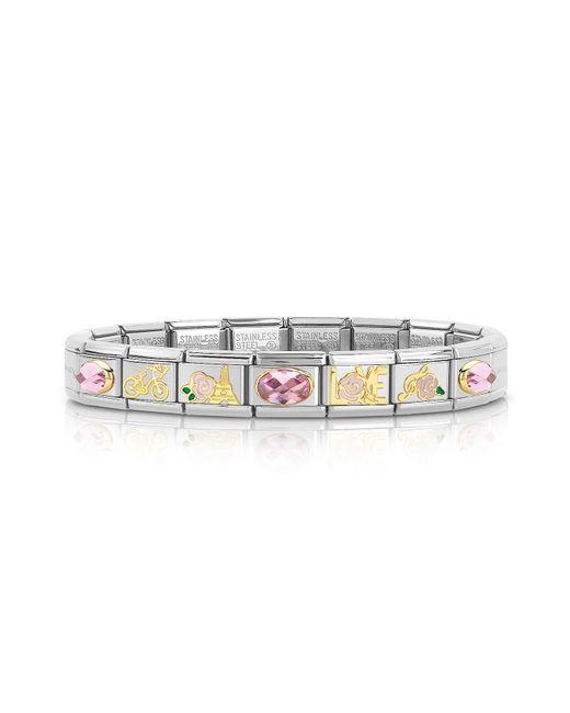 Nomination - Metallic La Vie En Rose Golden Stainless Steel Bracelet W/cubic Zirconia - Lyst