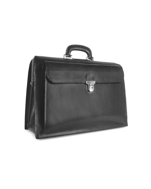 Forzieri - Black Italian Leather Buckled Large Doctor Bag for Men - Lyst