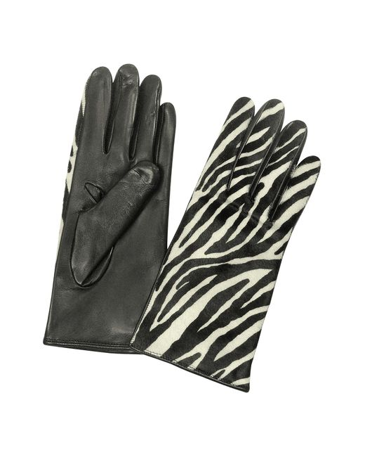 Forzieri Black Women's Zebra Pony Hair And Italian Nappa Leather Gloves