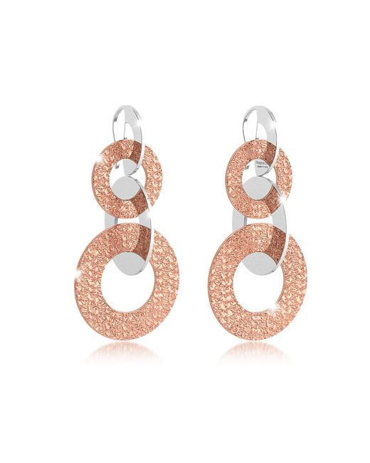 Rebecca - Pink R-zero Rose Gold Over Bronze Dangle Earrings - Lyst
