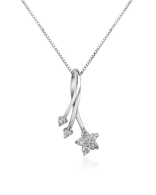 Forzieri - Metallic 0.125 Ct Diamond Flower 18k Gold Pendant Necklace - Lyst