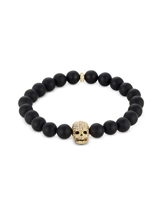 Northskull - Matte Black Onyx/gold Skull Bracelet With Crystals for Men - Lyst