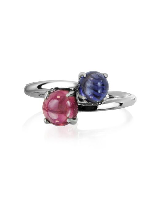 Mia & Beverly - Blue Iolite And Garnet 18k White Gold Ring - Lyst