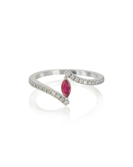 Forzieri - Red White Gold Eye Shaped Ruby And Diamonds Ring - Lyst