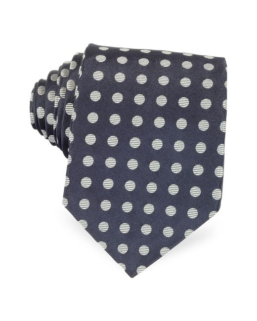 Forzieri - Dark Blue With Gray Large Woven Dots Men's Pure Silk Tie for Men - Lyst