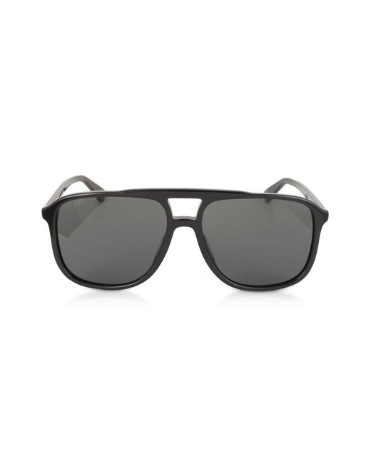 443b6a2e7e Gucci - GG0262S Rectangular-frame Black Acetate Sunglasses for Men - Lyst