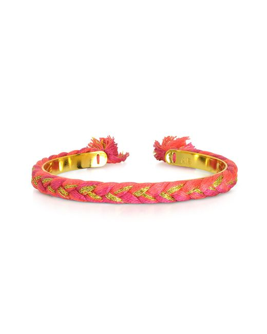 Aurelie Bidermann - Pink Copacabana Gold And Cotton Thin Bangle - Lyst