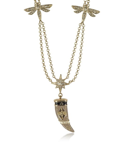 Roberto Cavalli   Metallic Gold-tone Double Chain Long Necklace W/enamel And Crystals Horn   Lyst