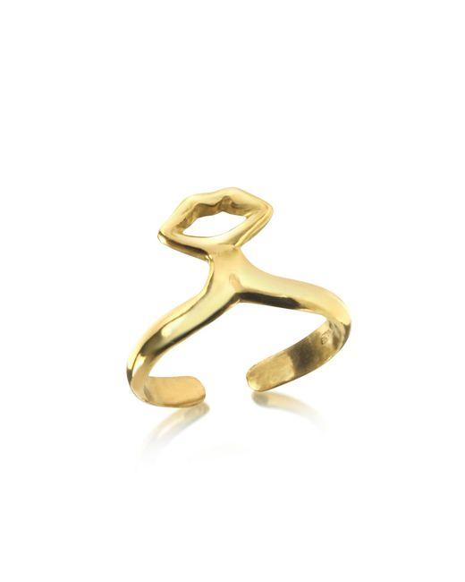 Bernard Delettrez - Metallic Small Bronze Midi Ring W/mouth - Lyst