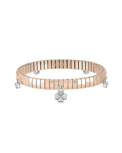 Nomination - Pink Rose Gold Pvd Stainless Steel Women's Bracelet W/charms And Cubic Zirconia - Lyst