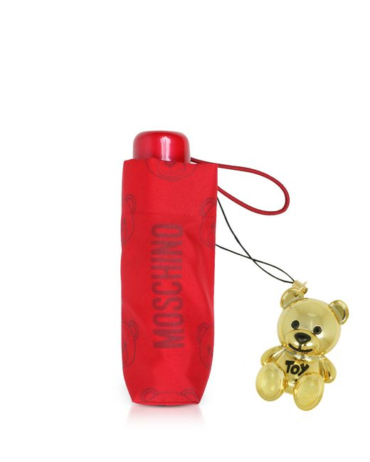 Moschino - Red Teddy Bear Supermini Umbrella W/golden Charm - Lyst