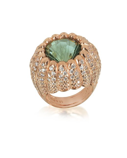 Azhar - Multicolor Rose Sterling Silver Riccio Ring W/white Cubic Zirconia And Green Stone - Lyst