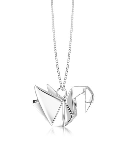 Origami Jewellery - Metallic Sterling Silver Swan Pendant Long Necklace - Lyst