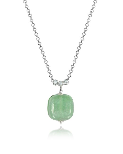 Antica Murrina | Florinda Green Murano Glass Sterling Silver Necklace | Lyst