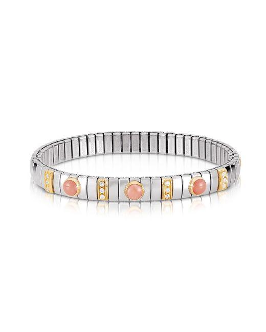 Nomination - Metallic Golden Stainless Steel Women's Bracelet W/pink Corals And Cubic Zirconia - Lyst