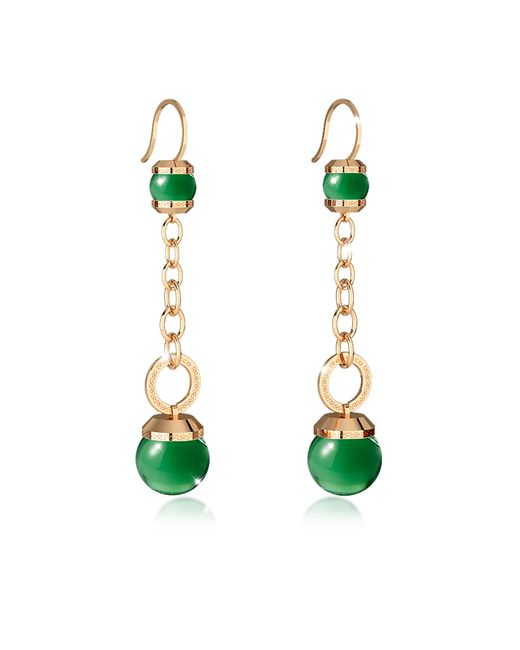 Rebecca | Hollywood Stone Yellow Gold Over Bronze Dangle Earring W/green Hydrothermal Stone | Lyst